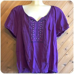 ST. JOHN'S  BAY Purple Peasant Top Plus Size 3x